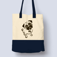 For Dogs Sake! Default Title Pug Navy Blue Stylish Shopping Bag by For Dogs Sake!®
