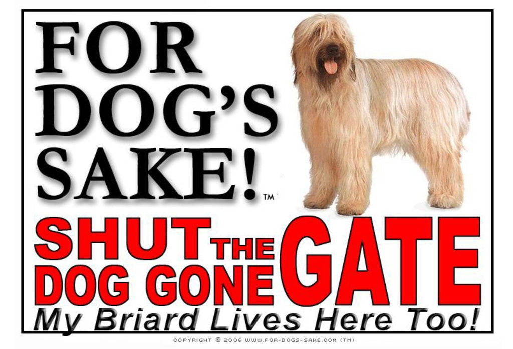 For Dogs Sake! Image1 / Adhesive Vinyl Briard Shut the Dog Gone Gate Sign