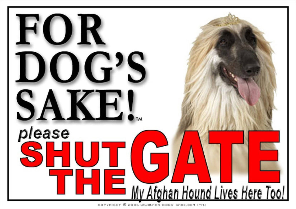 For Dogs Sake! Image1 / Adhesive Vinyl Afghan Hound Shut the Gate Sign