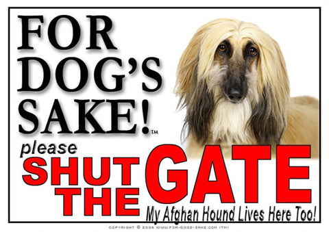 For Dogs Sake! Image5 / Adhesive Vinyl Afghan Hound Shut the Gate Sign