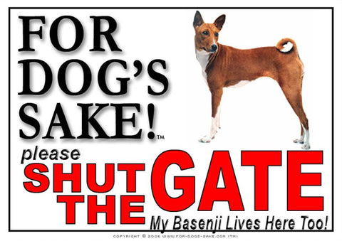 For Dogs Sake! Image1 / Adhesive Vinyl Basenji Shut the Gate Sign