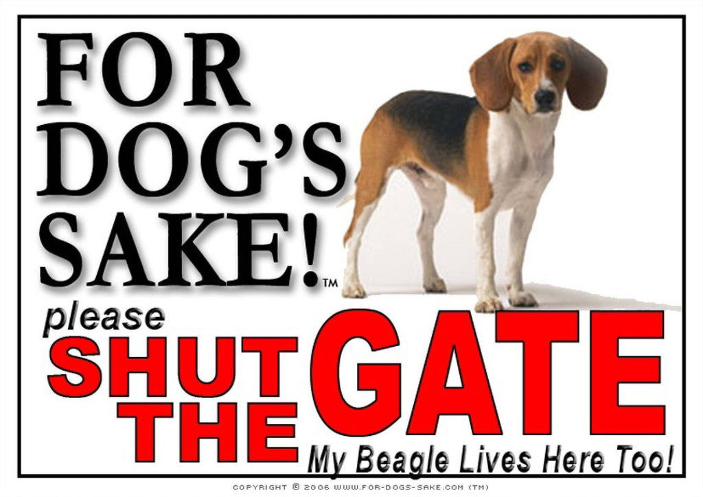 For Dogs Sake! Image4 / Adhesive Vinyl Beagle Hound Shut the Gate Sign