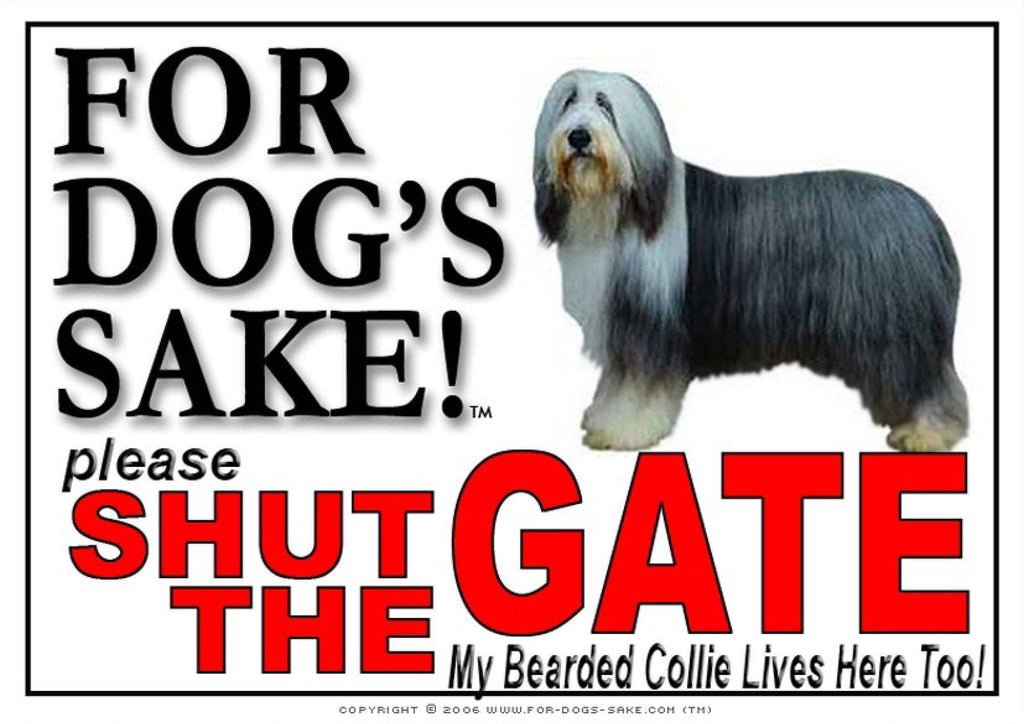 For Dogs Sake! Image1 / Adhesive Vinyl Bearded Collie Shut the Gate Sign