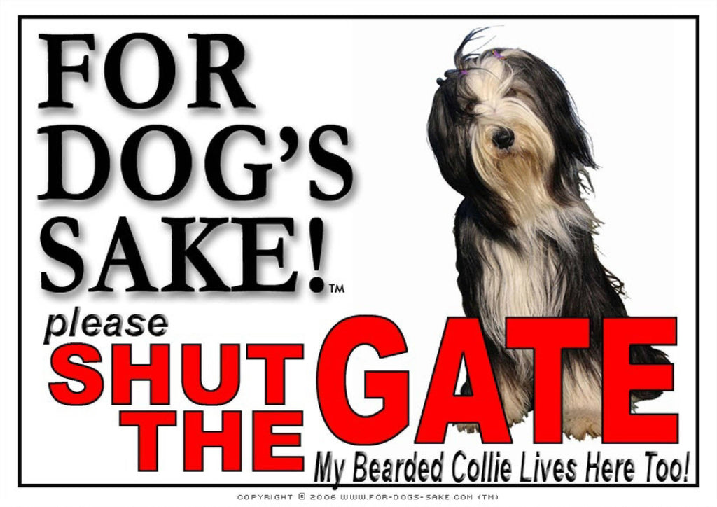 For Dogs Sake! Image3 / Adhesive Vinyl Bearded Collie Shut the Gate Sign