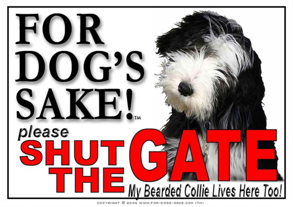 For Dogs Sake! Image4 / Adhesive Vinyl Bearded Collie Shut the Gate Sign