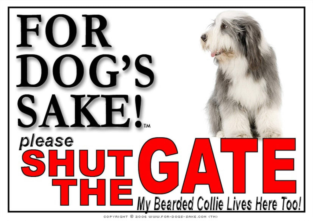 For Dogs Sake! Image5 / Adhesive Vinyl Bearded Collie Shut the Gate Sign