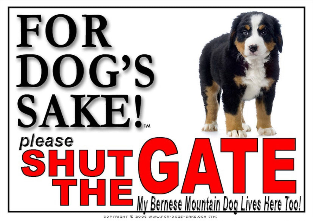 For Dogs Sake! Image4 / Adhesive Vinyl Bernese Mountain Dog Shut the Gate Sign