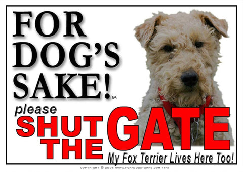 For Dogs Sake! Image1 / Adhesive Vinyl Fox Terrier Shut the Gate Sign