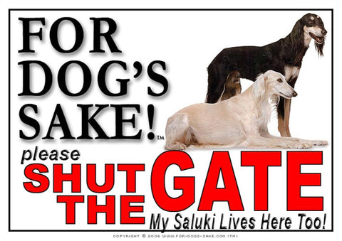 For Dogs Sake! Image1 / Adhesive Vinyl Saluki Shut the Gate Sign