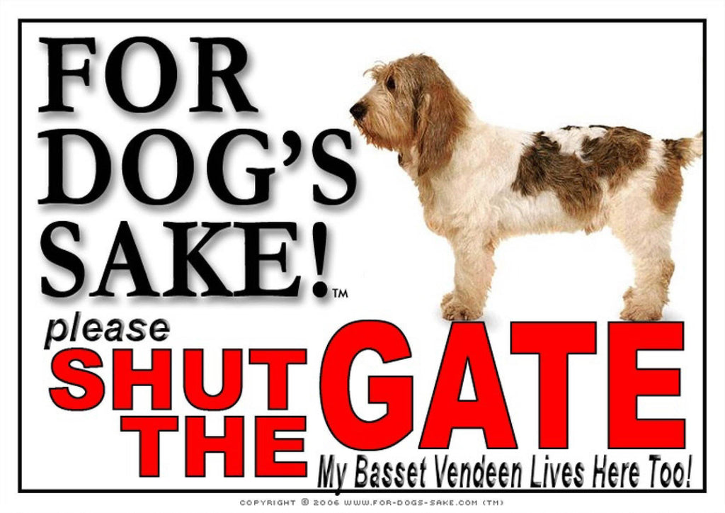For Dogs Sake! Image1 / Adhesive Vinyl Basset Griffon Vendeen Shut the Gate Sign