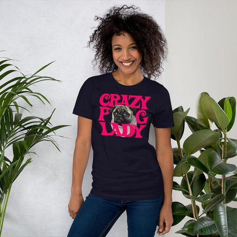 For Dogs Sake! Navy / XS Crazy Pug Lady T-Shirt By For Dog's Sake!®