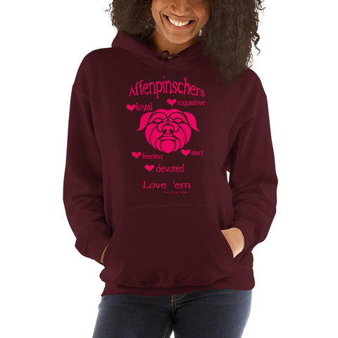 For Dogs Sake! Maroon / S Affenpinscher Unisex Hoodie by For Dog's Sake!®
