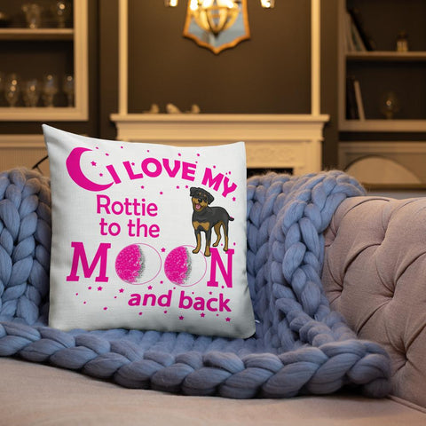 For Dogs Sake! I Love My Rottwielier to the Moon & Back Premium Pillow By For Dog's Sake!®