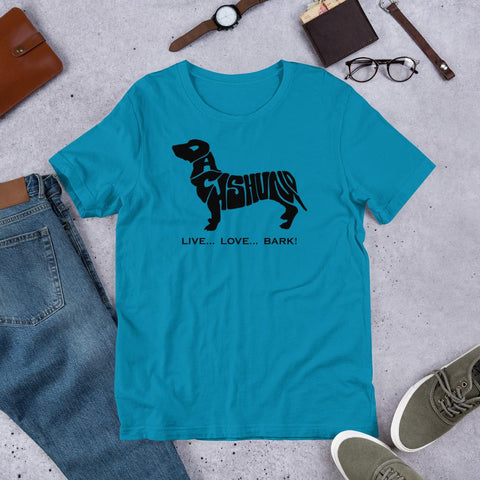 For Dogs Sake! Aqua / S Dachshund Short-Sleeve T-Shirt by For Dog's Sake!®