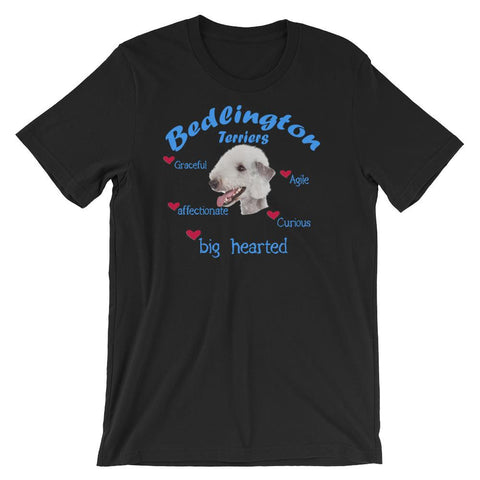 For Dogs Sake! Black / XS Bedlington Terrier Blue Big Hearted & Affectionate T-Shirt