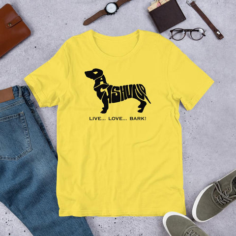 For Dogs Sake! Yellow / S Dachshund Short-Sleeve T-Shirt by For Dog's Sake!®