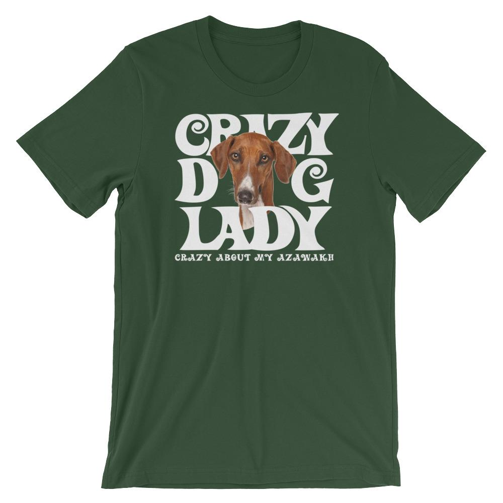 For Dogs Sake! Forest / S Azawakh White Crazy Dog Lady T-Shirt
