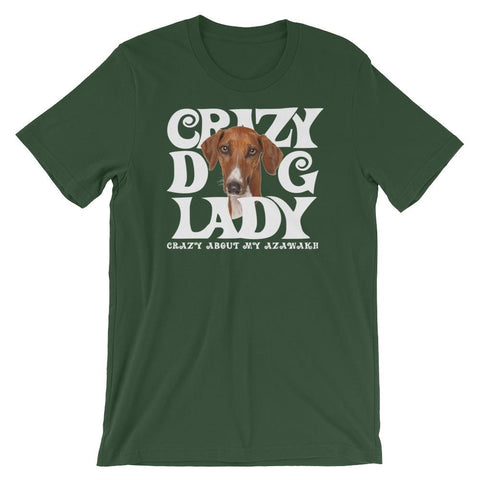 Image of For Dogs Sake! Forest / S Azawakh White Crazy Dog Lady T-Shirt