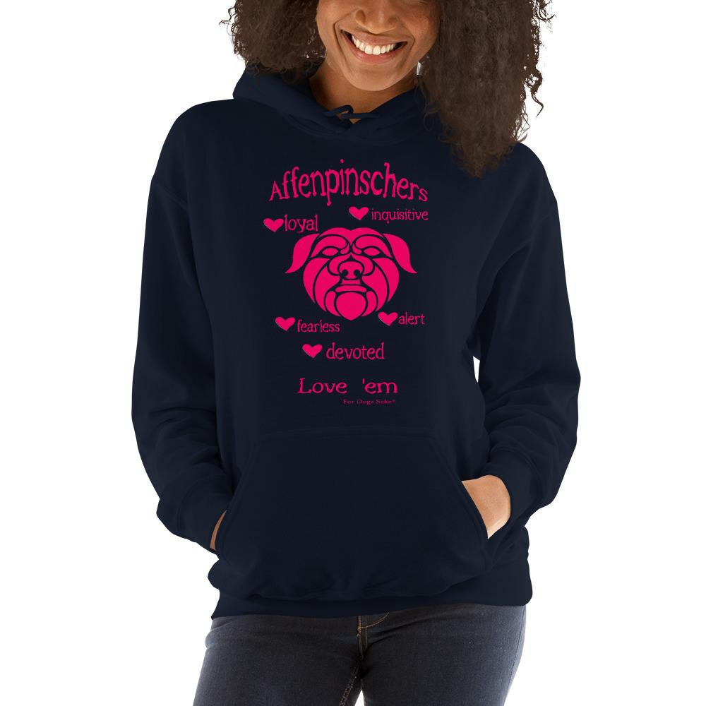 For Dogs Sake! Navy / S Affenpinscher Unisex Hoodie by For Dog's Sake!®