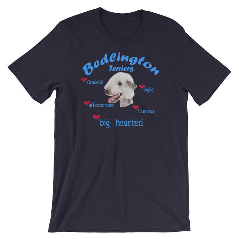 For Dogs Sake! Navy / XS Bedlington Terrier Blue Big Hearted & Affectionate T-Shirt
