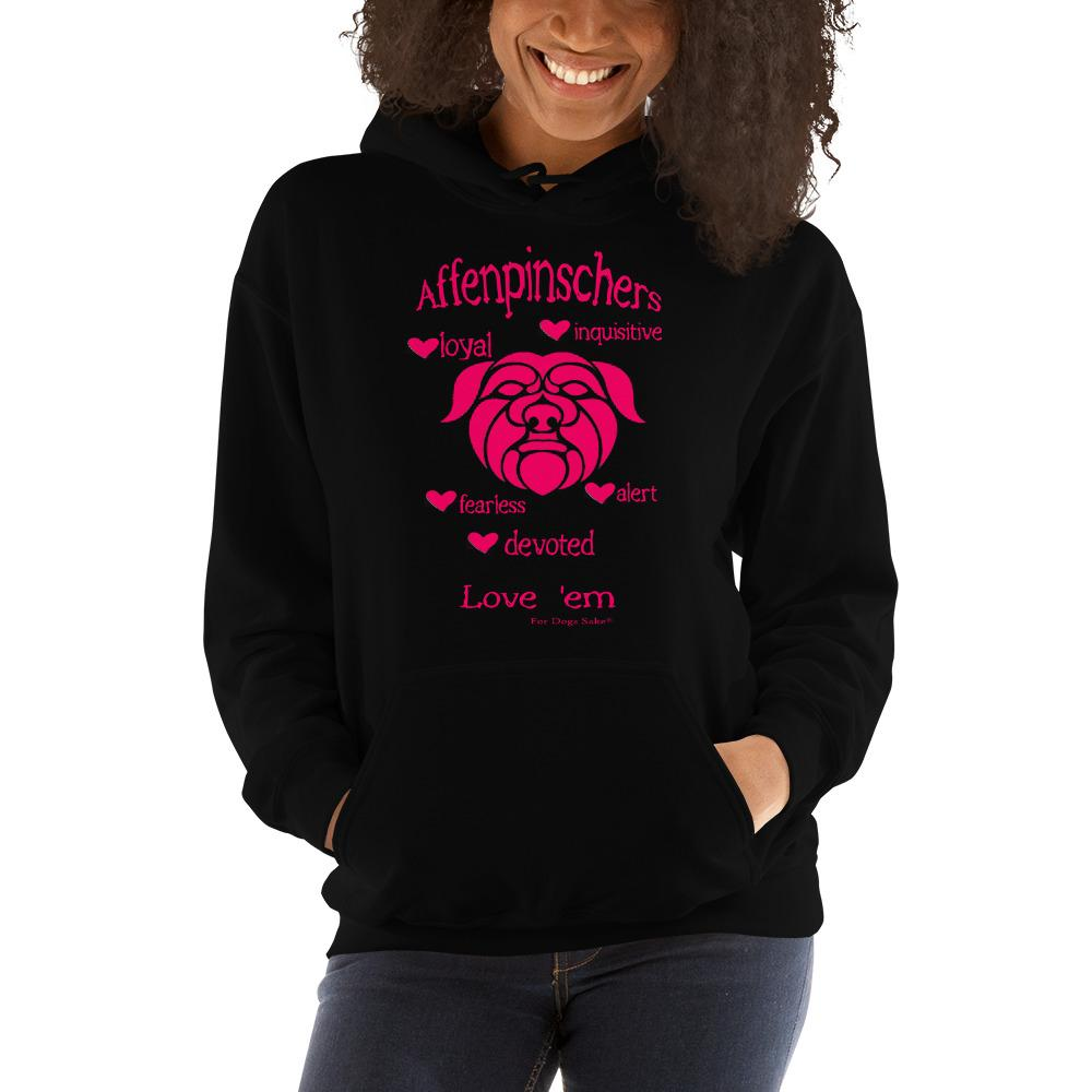 For Dogs Sake! Black / S Affenpinscher Unisex Hoodie by For Dog's Sake!®