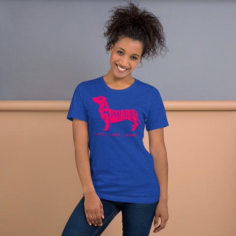 For Dogs Sake! Heather True Royal / S Dachshund Short-Sleeve T-Shirt by For Dog's Sake!®