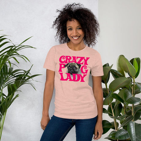 For Dogs Sake! Heather Prism Peach / XS Crazy Pug Lady T-Shirt By For Dog's Sake!®