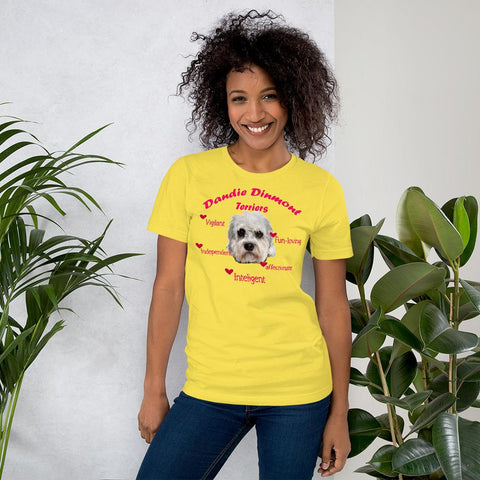 For Dogs Sake! Yellow / S Dandie Dinmont Terrier Fun-Loving & Intelligent T-Shirt