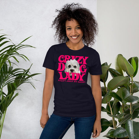 For Dogs Sake! Navy / XS Dandie Dinmont Terrier Crazy Dog Lady T-Shirt