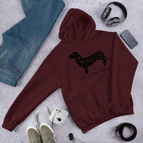 Image of For Dogs Sake! Maroon / S Dachshund Hoodie by For Dog's Sake!®