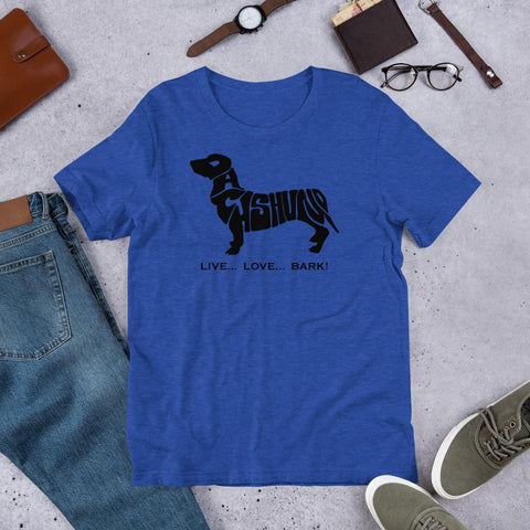 Image of For Dogs Sake! Heather True Royal / S Dachshund Short-Sleeve T-Shirt by For Dog's Sake!®