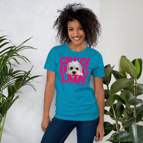 For Dogs Sake! Aqua / S Dandie Dinmont Terrier Crazy Dog Lady T-Shirt