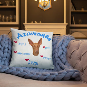 Azawakh Blue Playful & Loyal Throw Pillow