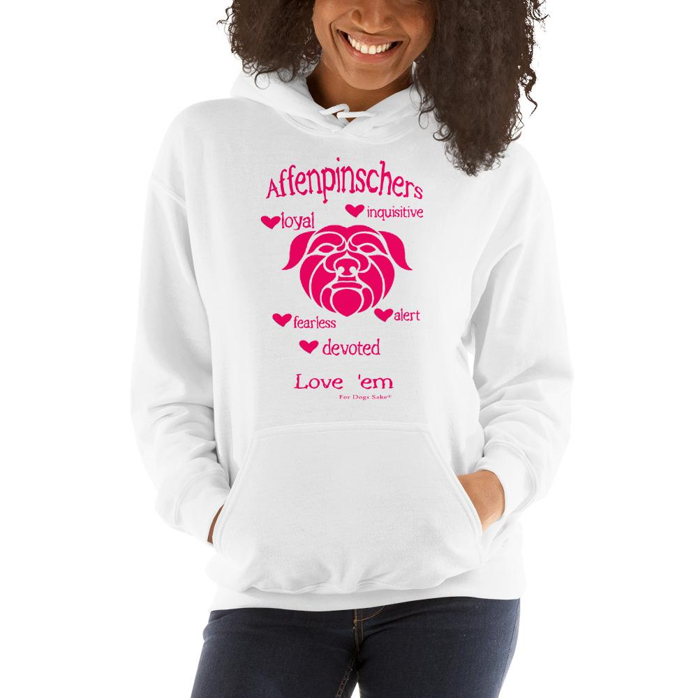 For Dogs Sake! White / S Affenpinscher Unisex Hoodie by For Dog's Sake!®