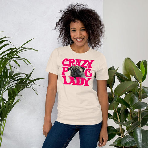 For Dogs Sake! Soft Cream / S Crazy Pug Lady T-Shirt By For Dog's Sake!®