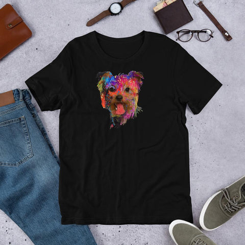 For Dogs Sake! White / XS Yorkshire Terrier Psychedelic Unisex T-Shirt By For Dog's Sake!®