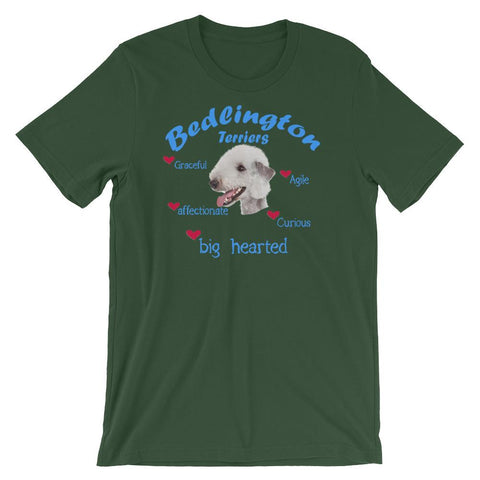 For Dogs Sake! Forest / S Bedlington Terrier Blue Big Hearted & Affectionate T-Shirt