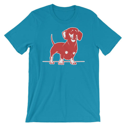 For Dogs Sake! Aqua / S Mini Dachshund T-Shirt by  For Dog's Sake!®