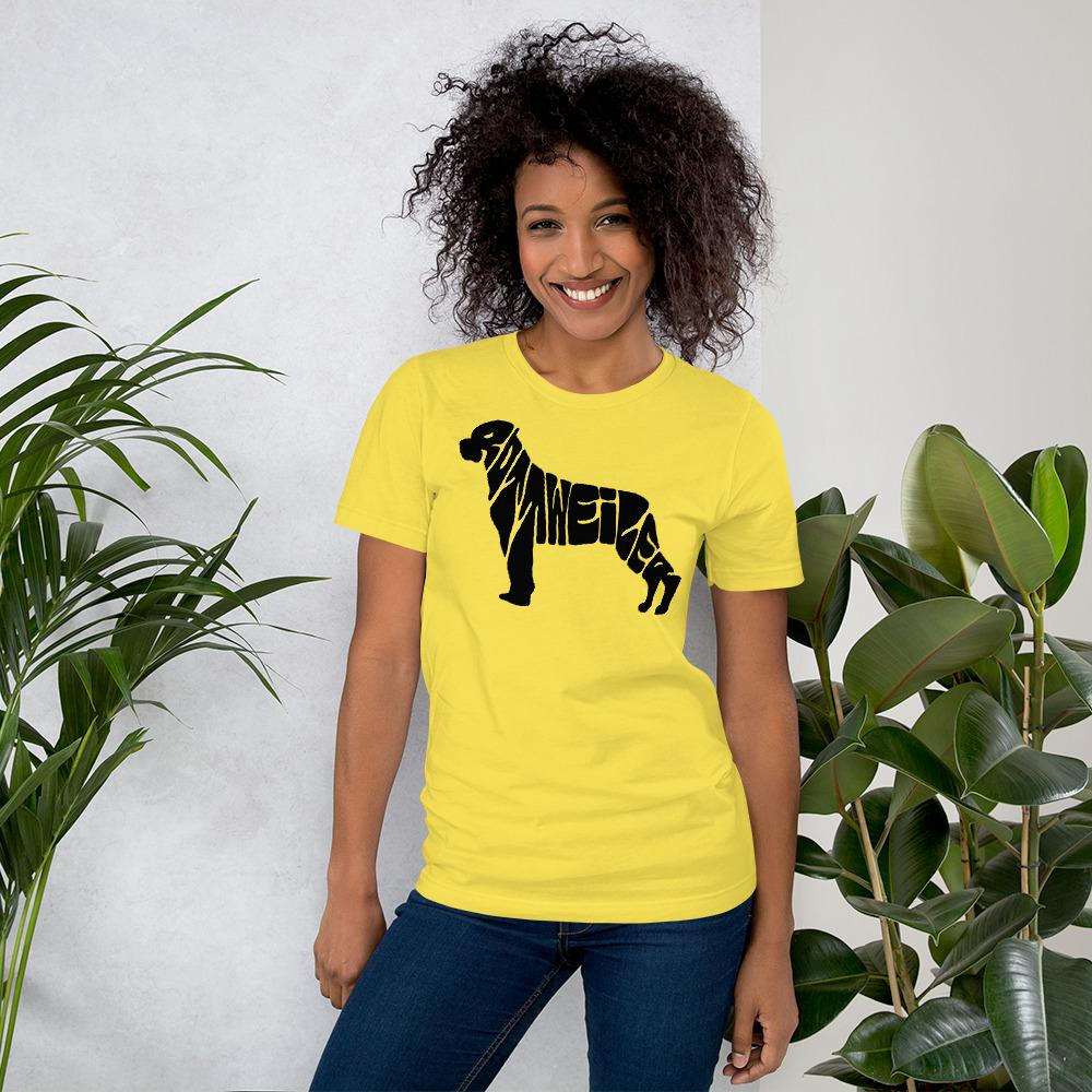 For Dogs Sake! Yellow / S Rottweiler T-Shirt by For Dog's Sake!®