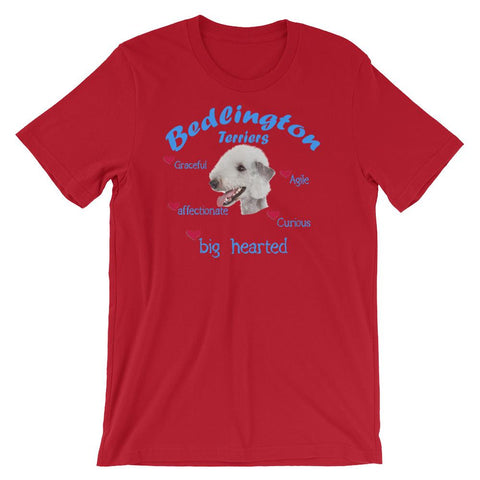 For Dogs Sake! Red / S Bedlington Terrier Blue Big Hearted & Affectionate T-Shirt
