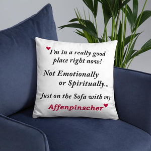 Affenpinscher In a Good Place Throw Pillow