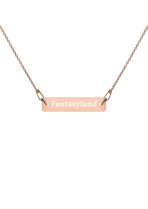 Fantasyland Engraved Silver Bar Chain Necklace