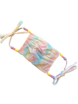 Rainbow Pastel Tie Dye Beaded Face Mask