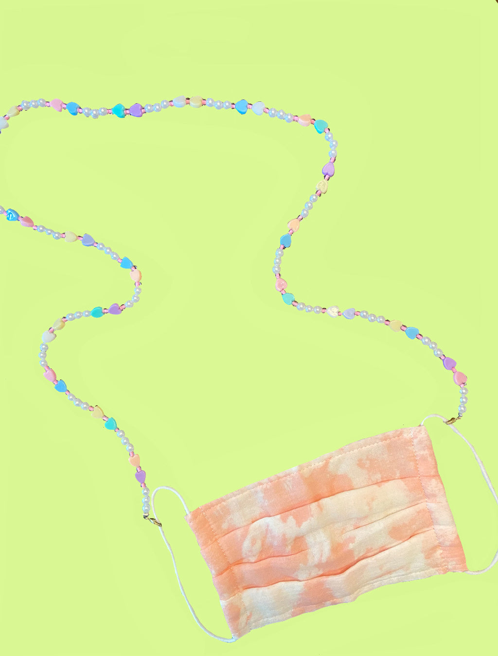 The Alice Pastel Heart Beaded Mask Chain