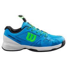 Load image into Gallery viewer, Wilson Rush Pro QL Junior Court Shoe - Brilliant Blue/White/Green Gecko