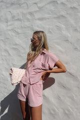 Terry Towelling Shirt Set Dusty Rose