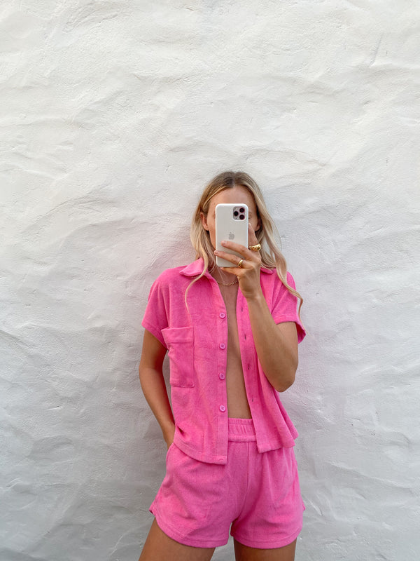Terry Towelling Shirt Set Pop Pink