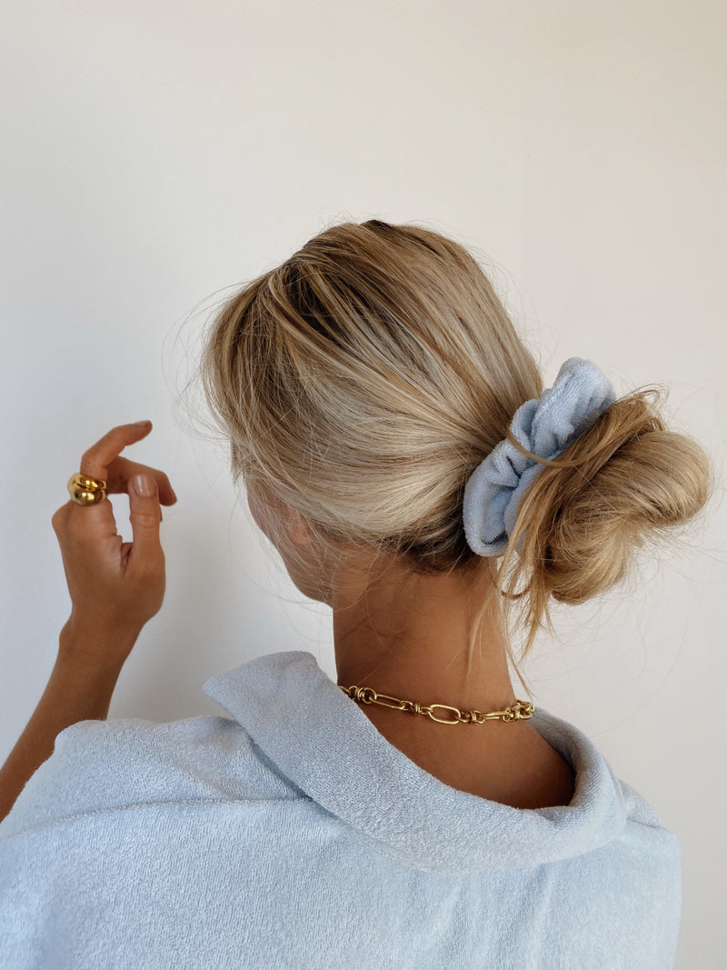 Terry Towelling Scrunchie Powder Blue