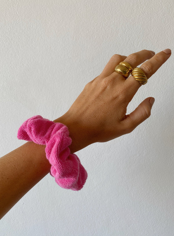 Terry Towelling Scrunchie Pop Pink