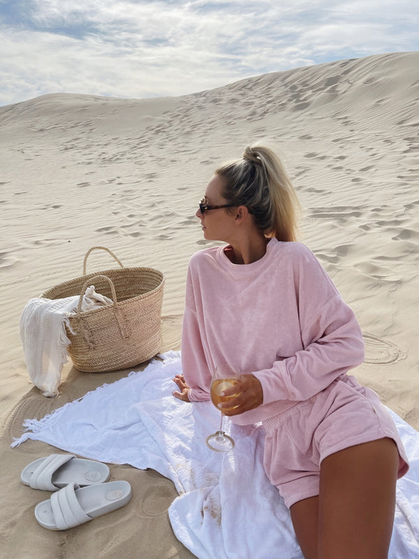 Dusty Rose Terry Long Sleeve Set